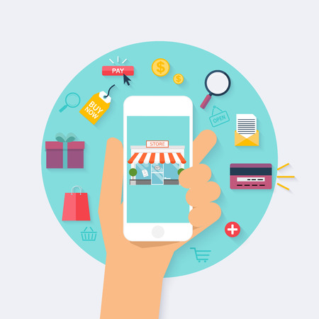 computer graphic: Concept online shopping and e-commerce. Icons for mobile marketing. Hand holding smart phone. Flat design style modern vector illustration concept.