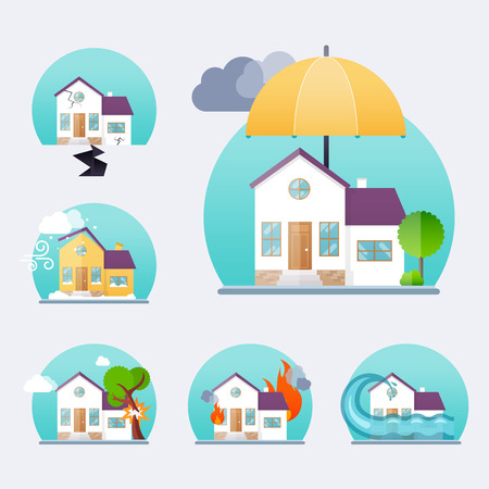 storm damage: House insurance business service icons template. Property insurance. Big set house insurance. Vector illustration concept of insurance. Illustration