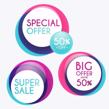 판매 배너 디자인의 집합입니다. 판매 종이 배너입니다. 판매 및 할인. 슈퍼 판매 및 특별 제공. 사업 추진에 대한 판매 쇼핑 배경과 레이블입니다. 벡 일러스트