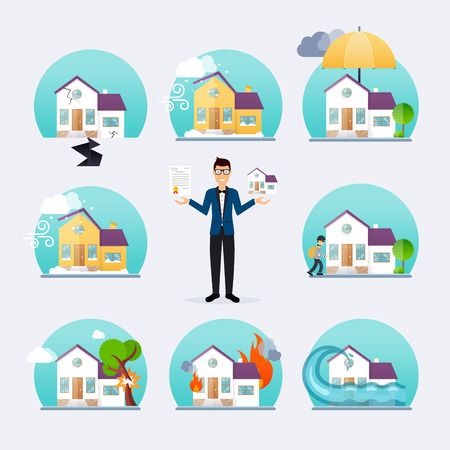 storm damage: House business service icons template.
