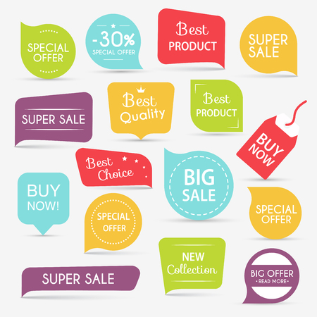 Collection of Sale Discount Styled origami Banners.