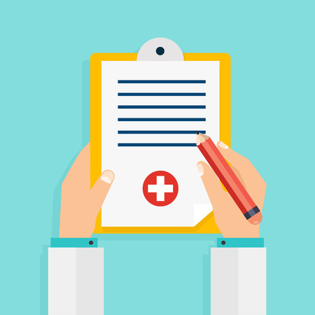 Clipboard in his hand doctor. Hand holding clipboard with checklist and pen for medical report, presentation, web page banner.