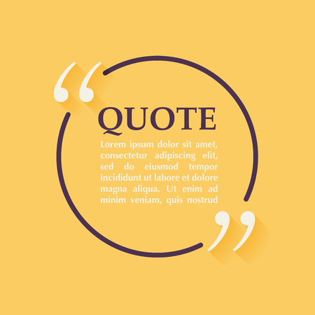 blank business card: Quote blank template. Design elements, circle business card template, paper sheet, information, text. Quote template for your design.