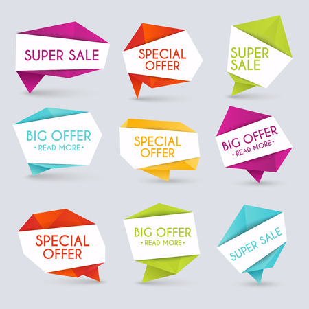 hot price: Set of sale banners design. Sale paper banner. Sale and discounts. Super Sale and special offer. Sale shopping background and label for business promotion.