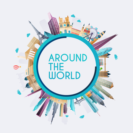 Planet Erde um die Welt reisen. Reisen und Tourismus Hintergrund.