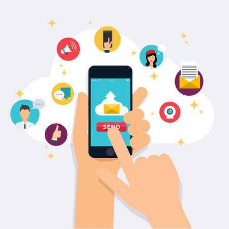 Running campaign, email advertising, direct digital marketing. Email marketing. Set of social media icons. Flat design style modern illustration concept. Stock Vector - 53904765