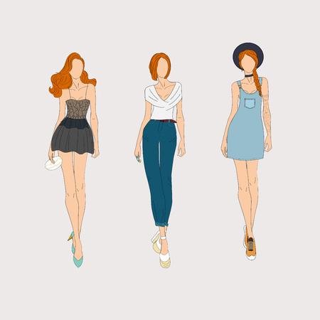 Dibujado a mano los modelos de moda. ilustración.