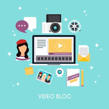video: Video blogging concept. Template blogging infographics. Blog concept design. Flat design style modern illustration concept.