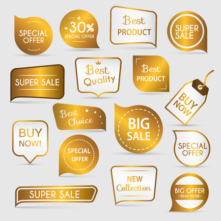 premium: Collection of golden premium promo sealsstickers. isolated illustration Illustration