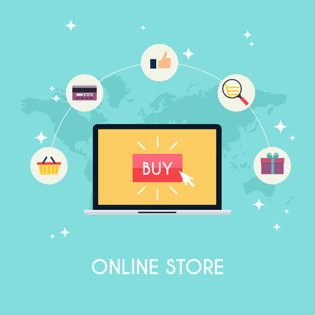 ecommerce: E-commerce, electronic business, online shopping, payment, delivery, shipping process, sales. Infographic concept . Illustration