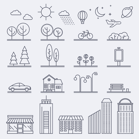 city illustration in linear style. Icons and illustrations with buildings, houses and architecture signs. Ideal for business web publications and graphic design. Flat style illustration.