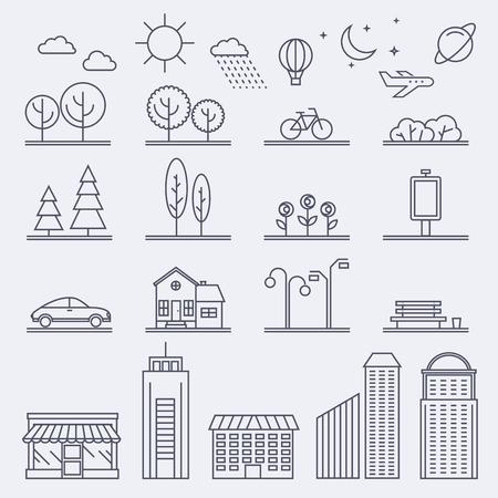 Ilustración de la ciudad en estilo lineal. Iconos e ilustraciones con edificios, casas y signos de arquitectura. Ideal para publicaciones web de negocios y diseño gráfico. Ilustración de estilo plano