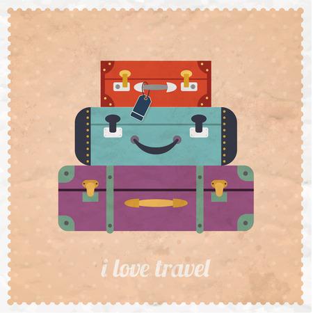 reise retro: Vintage-Web-Design. Ich liebe Reise-Banner. Vintage Reisegepäck Hintergrund. Retro-Design-Stil Vektor-Illustration Konzept.