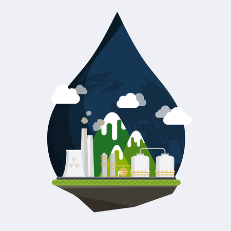 air pollution cartoon: Ecology Concept Vector. Industrial landscape. Plant or factory. Ecology. Pollution. Flat design modern vector illustration concept.