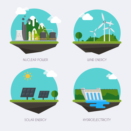 Biomass: Set of icons with different types of electricity generation. Landscape and industrial factory buildings concept. Vector flat  infographic.