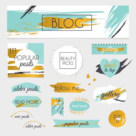 blogs: A set of blog design elements kit. Frames, dividers.