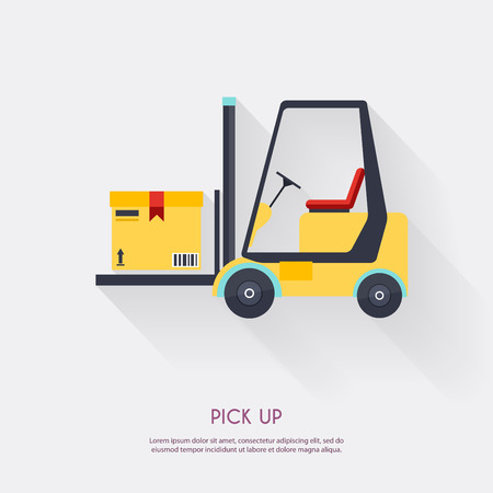 fork lifts trucks: Pick up. Warehouse icons logistic blank and transportation, storage vector illustration.