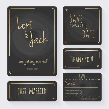 Ensemble de cartes d'invitation de mariage. Merci de votre carte, enregistrez les cartes de date, carte RSVP, carte juste mariée.