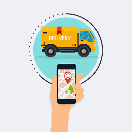 Hand holding mobile smart phone with mobile app delivery tracking. Vector modern flat creative info graphics design on delivery tracking application. Flat design modern vector illustration concept.