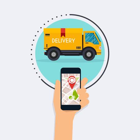 Mano que sostiene teléfono móvil inteligente con seguimiento de la entrega de aplicaciones móviles. Vector moderno diseño creativo infografía plana en aplicación de seguimiento de la entrega. Diseño plano moderno concepto de ilustración vectorial.