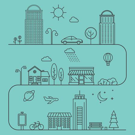 선형 스타일 벡터 도시 일러스트입니다. 아이콘 및 삽화가 건물, 주택 및 건축 징후. 비즈니스 웹 간행물 및 그래픽 디자인에 이상적입니다. 플랫 스타