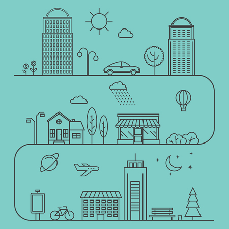 Vector city illustration in linear style. Icons and illustrations with buildings, houses and architecture signs. Ideal for business web publications and graphic design. Flat style vector illustration.