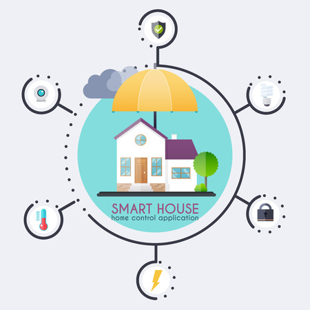 centralized: Smart house. Home control application concept and technology system with centralized control. Illustration