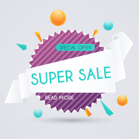 house clearance: Sale paper banner. Sale and discounts. Super Sale and special offer. Sale shopping background and label for business promotion. Vector illustration.