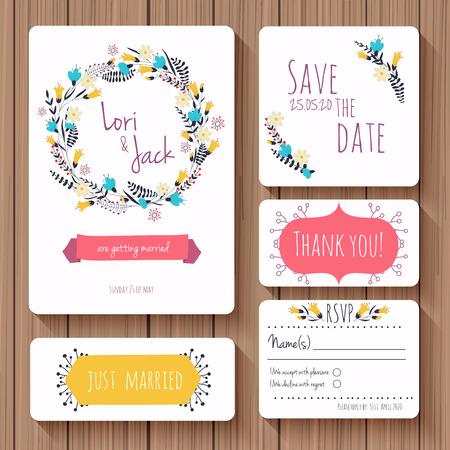 Conjunto de la tarjeta de invitación de boda. Gracias a la tarjeta, las tarjetas de fecha, tarjeta de RSVP, apenas casado. Ilustración del vector.