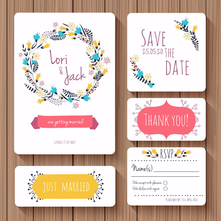 flower border: Wedding invitation card set. Thank you card, save the date cards, RSVP card, just married card. Vector illustration.