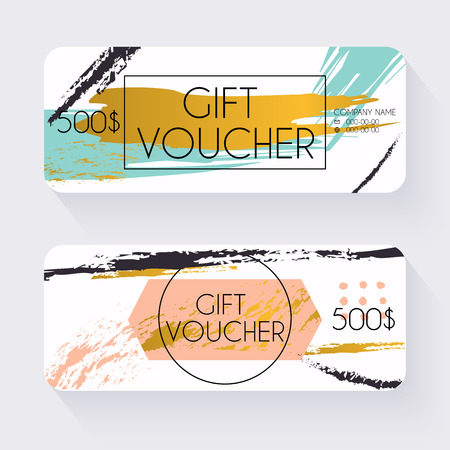 Gift voucher template with gold background, Gift certificate. Background design gift coupon, voucher, certificate, invitation, currency. Collection gift certificate. Vector illustration.