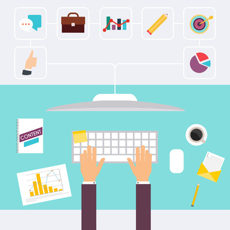 business meeting computer: Desk and signing a document, computers and paperwork all around. Business meeting and brainstorming. Flat design. Illustration