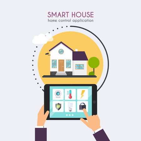 centralized: Smart house. Home control application concept. Hand holding tablet with home control application. Technology system with centralized control. Illustration