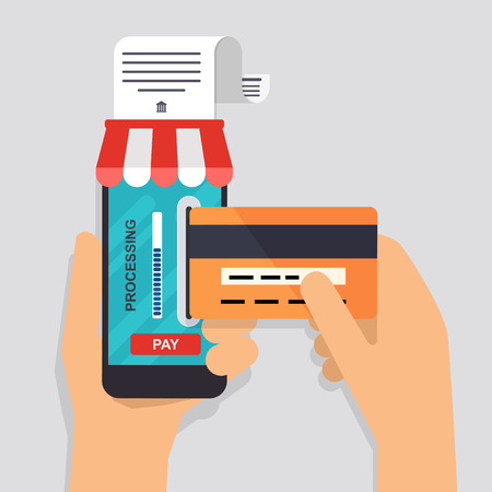 human finger: Online and mobile payments concept. Human hand finger pressing pay button on a phone with running payment app. Vector illustration.