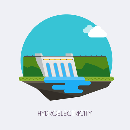 Hydroelectric power station.  Landscape and industrial factory buildings concept. Vector flat infographic. Stock Illustratie