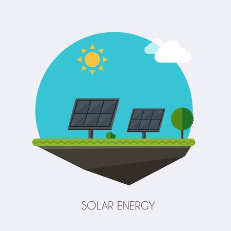 Solar energy. Landscape and industrial factory buildings concept. Vector flat infographic. Ilustração