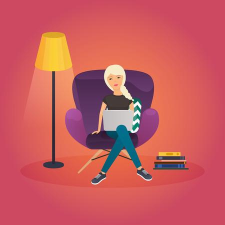 Meisjes thuis werken. Jonge vrouw zittend op een stoel en met behulp van laptop thuis. Freelance, werken vanuit huis, zelfstandigen, kantoor aan huis, werk thuis, vrijheid, in de woonkamer. Werk thuis concept. Stock Illustratie