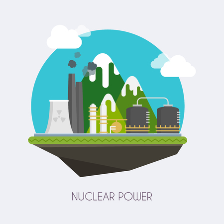 steam turbine: Nuclear power. Landscape and industrial factory buildings concept. Vector flat infographic.