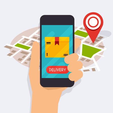 Hand hält mobilen Smartphone mit mobilen App Sendungsverfolgung. Vector modern flat kreative Info-Grafik-Design auf Lieferung Tracking-Anwendung. Flaches Design moderne Vektor-Illustration Konzept. Vektorgrafik