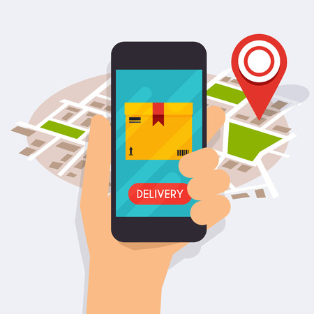 app banner: Hand holding mobile smart phone with mobile app delivery tracking. Vector modern flat creative info graphics design on delivery tracking application. Flat design modern vector illustration concept.