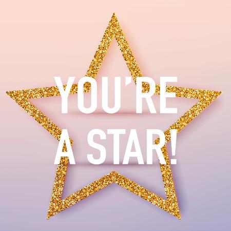 Je bent een sjabloon voor een sterposter. Vector realistische 3D-volumetrische achtergrond met gouden glitter ster. Stock Illustratie