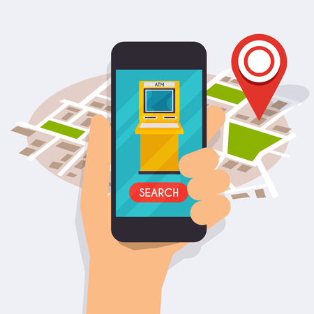 smart phone hand: Hand holding mobile smart phone with mobile app atm search. Vector modern flat creative info graphics design on search atm application. Flat design modern vector illustration concept. Illustration