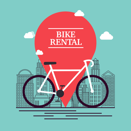 for rental: City bike hire rental tours for tourists and city visitors. Vector poster or banner template.