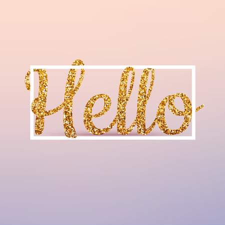 Hello calligraphic lettering, gold glitter. Vector realistic 3d volumetric background with golden glitter letters.