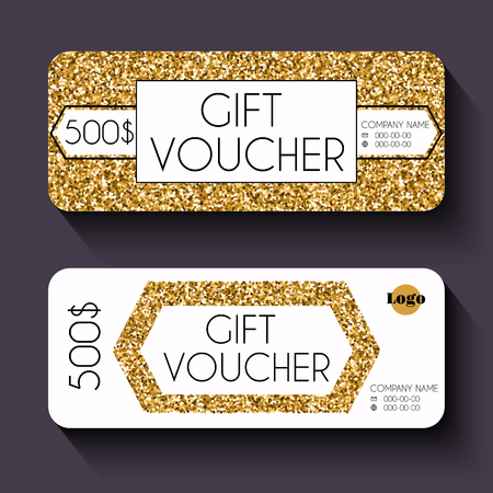 currency glitter: Gift voucher template with gold glitter pattern, Gift certificate. Background design gift coupon, voucher, certificate, invitation, currency. Collection gift certificate. Vector illustration. Illustration