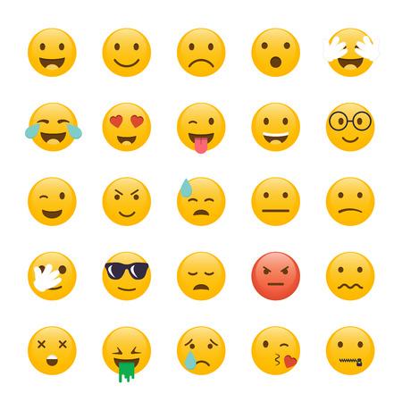 Set of Emoticons. Emoji flat design, avatar design. Vector illustration isolated on white background. Vettoriali