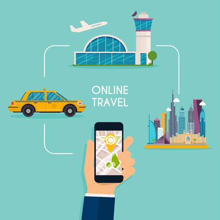 온라인 항공편 및 택시 응답 웹 디자인 템플릿을 예약하십시오. 평면 디자인 현대 벡터 일러스트 레이 션 개념.