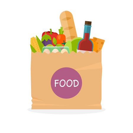 basketful: Paper bag with foods. Healthy organic fresh and natural food. Grocery delivery concept. Flat vector icon. Illustration