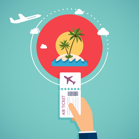 credit card business woman: Buy air tickets. Traveling on airplane, planning a summer vacation, tourism and journey objects and passenger luggage. Illustration