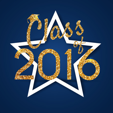 graduation party: Congratulations on graduation 2016 class of. Graduation Party, Congrats, Celebrate, High School  College Graduation. Vector illustration on blue background.